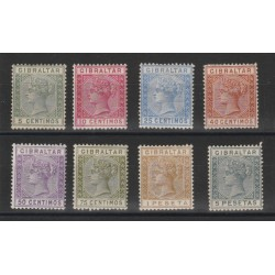 1889 GIBILTERRA  REG VITTORIA  VALORI IN PESETAS 8 V MLH UNIF 22-29 MF19445