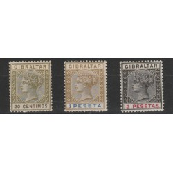 1895 GIBILTERRA REG VITTORIA  NUOVI VALORI 3 V MLH UNIF 30-32 MF19450