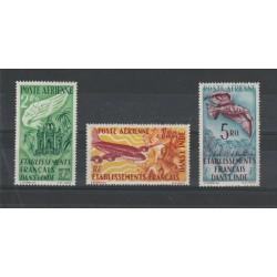 INDIA FRANCESE 1949  SOGGETTI DIVERSI  3 VAL MLH YVERT PA  N 18-20 MF19315