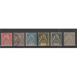 INDIA FRANCESE 1900-07 ALLEGORIA NUOVI COLORI  6  VAL MISTI  YVERT N 14-19 MF19317