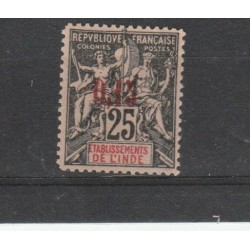 INDIA FRANCESE 1903  ALLEGORIA NUOVI COLORI  1 VAL  MLH   YVERT N 22 MF19282