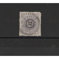 1884 MACAO MACAU  STEMMA  SOPRASTAMPATO 1 VAL USATO MF19922