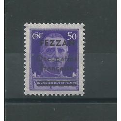 1943 FEZZAN 50 C SOPRASTAMPATO FEZZAN OCCUP FRANCAISE 1 V MNH DIENA MF24975