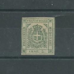 MODENA 1859 - 5 CENT VERDE STEMMA SASS n. 5 SENZA GOMMA CAFFAZ MF24981