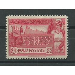 1907 SAN MARINO ESPRESSO ALLEGORIA E VEDUTA 25 CENT CENTRATO 1 V MLH MF25159