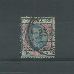 1915 LIBIA 5 LIRE AZZURRO ROSA 2 TIPO SASSONE N 11/l 1 V USATO A DIENA MF25206