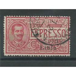 1915 LIBIA ESPRESSO D'ITALIA SOPRASTAMPATO 1 VALORE USATO SASSONE N. 1 MF25236