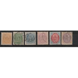 1882 ISLANDA ICELAND   CIFRA E CORONA  NUOVI COLORI  6 VAL  USATI  MNH  MF50930