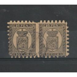 1866 / 70 FINLANDIA SUOMI STEMMA  INIF N° 7 - COPPIA USATA MF51054