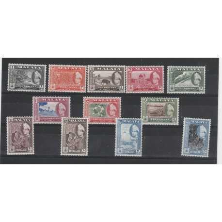 MALAYA - TRENGGANU 1957 - 61 SULTANO  ISMAIL 12 V MNH YV 85/95  MF51101