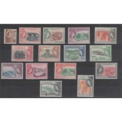 DOMINICA 1954 DEFINITIVA ELIZABETH II 15VALORI MNH YV  137-151 MF51066