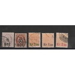 1905 NORVEGIA NORGE  SOPRASTAMPATI NUOVO VALORE  N 58/62 - 5 VAL USATI MF51143
