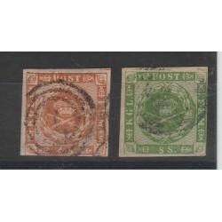 18548-63 DANIMARCA DANMARK LINEE ONDULATE  UNIF. N. 8/9 USATI MF51000