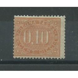 1869 REGNO ITALIA SEGNATASSE 10 CENTESIMI BRUNO ARANZIO MLH CHIAVARELLO MF25336
