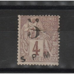 S PIERRE ET MIQUELON 1885 ALLEGORIA SOPRASTAMPATA 1 VAL USATO MF51290