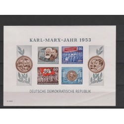 1953 GERMANIA DDR ANNO DI KARL MARX 1 BF NON DENTELLATO MNH MF51355