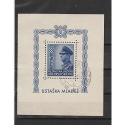 1943 CROAZIA GIOVENTU USTASCIA  BF 6A  USATO 1 FOGLIETTO ND MF51352