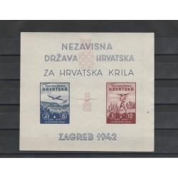 1942 CROAZIA PRO AVIAZIONE   BF 2 MNH  1 FOGLIETTO ND MF51333