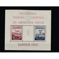 1942 CROAZIA PRO AVIAZIONE   BF 1 MNH  1 FOGLIETTO MF51360