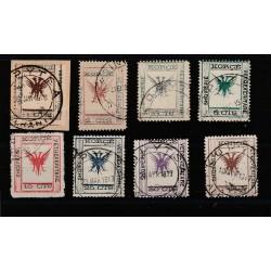 1917 ALBANIA  - KORIZIA  AQUILA BIFRONTE 8 VAL USATI UNIF N 3 - 10 MF51382