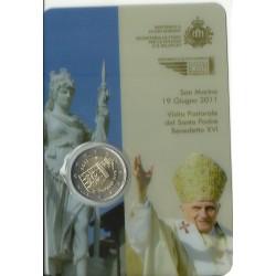 2011 SAN MARINO 2 EURO COMMEMORATIVO VISITA PAPA FDC IN CONFEZIONE MF25539