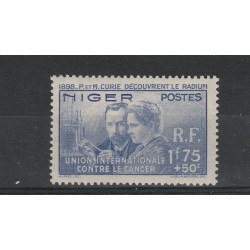 NIGER 1938 PIERRE & MARIE CURIE 1 VAL MLH MF5196