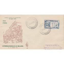 1952 FDC VENETIA ITALIA N. 136  FIERA DI MILANO  NON VIAGGIATA MF52129