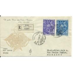 1950 FDC VENETIA ITALIA N. 58 ANNO SANTO VIAGGIATA RACCOMANDATA MF25999