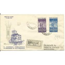 1950 FDC VENETIA ITALIA N. 62 RADIODIFFUSIONE VIAGGIATA RACCOMANDATA MF26000