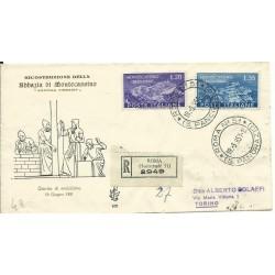 1951 FDC VENETIA ITALIA N. 100 MONTECASSINO VIAGGIATA RACCOMANDATA MF26003