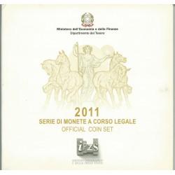 2011 ITALIA SERIE DIVISIONALE EURO - IPZS - 10 MONETE FDC CON ARGENTO