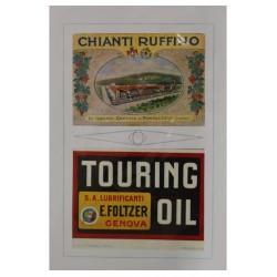 1921 CHIANTI RUFFINO E TOURING OIL PUBBLICITA' D'EPOCA - ORIGINALI -