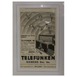1923 TELEFUNKEN SIEMENS SOC. AN. RADIO PUBBLICITA' D'EPOCA - ORIGINALE -