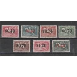 URUGUAY 1944  POSTA  AEREA SOPRASTAMPATA 7 VAL MLH MF52415