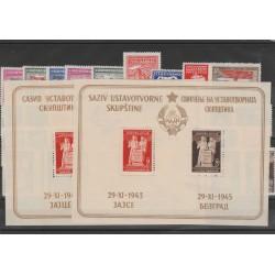 1945  JUGOSLAVIA  ANNATA COMPLETA  45 VALORI + 2 BF MNH MF52465