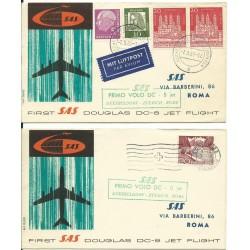 1961 FDC SAS - PRIMO VOLO A/R DUSSELDORF - ZURIGO - ROMA DC-8  JET MF26579