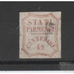 PARMA 1859 - 40 CENT  VERMIGLIO   SAS N 17  USATO DIFETTOSO  CHIAVARELLO MF52700