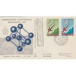 1958 FDC ALA SAN MARINO ESPOSIZIONE BRUXELLES NON VIAGGIATA MF52946
