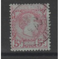 1885 MONACO EFFIGIE CARLO III  5 FR   UN  VAL USATO UNIF N 10 MF52906