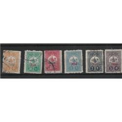 1908 TURCHIA TURKIYE  SOPRASTAMPATI  IN ROSSO  6 VAL UNIF 35/40 USATI MF53049