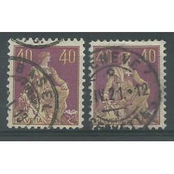 1908 SVIZZERA HELVETIA ALLEGORIA 40 CENT. I e II TIPO 2 VAL USATI MF18860