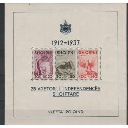 1937 ALBANIA  INDIPENDENZA 1 FOGLIETTO  MNH UNI BF1 MF52234
