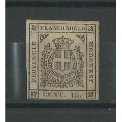 DUCATO DI MODENA 1859 GOVERNO PROVVISORIO 15 CENT BRUNO  N 13 MLH GAZZI MF52786