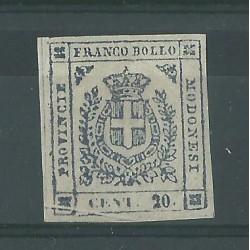 DUCATO DI MODENA 1859 GOVERNO PROVVISORIO 20 CENT ARDESIA VIOL  N 15  MLH GAZZI MF52833
