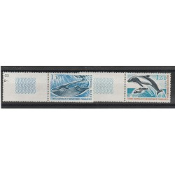 1977 TAAF TER ANTARTICO FRANCESE  CETACEI 2 VAL  MNH MF53318