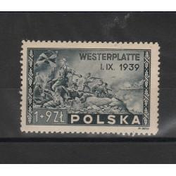 1945 POLONIA POLSKA  BATTAGLIA DI WESTERPLATTE 1V MNH MF53384