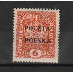 1919 POLONIA POLSKA EMISSIONE DI CRACOVIA  6 HELLER  N°31 UN VAL MLH MF53340