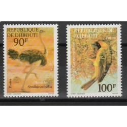 DJIBOUTI 1977 UCCELLI 2 VAL MNH MF53419