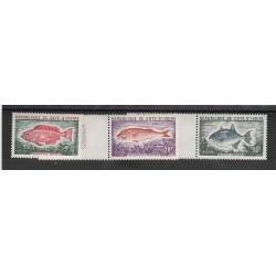 COTE D IVOIRE 1973  PESCI  3 VAL MNH MF53394