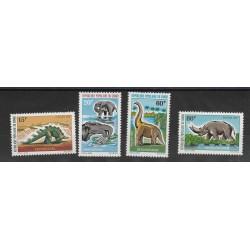 EX CONGO  FRANCESE  1974  ANIMALI PREISTORICI  4 VAL  MNH MF53527
